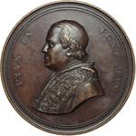 obverse:  Pio IX  (1846-1878), Giovanni Mastai Ferretti Medaglia di massimo modulo 1854, per la ricostruzione della Basilica di San Paolo.