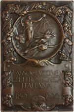 obverse:  Associazione Elettrotecnica Italiana Placchetta 1922 per il 25° della fondazione. 57X81mm.