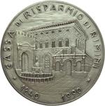 reverse:  Rimini   Medaglia 1990 per il 150° della Cassa di Risparmio di Rimini.