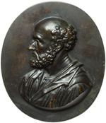 reverse:  San Paolo e San Pietro Lotto di 2 placchette ovali raffiguranti S. Paolo e S. Pietro. Scuola italiana XVIII-XIX secolo. 142X121mm.