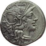 obverse:  Decimius Flavus. Denario, 150 a.C.