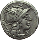 obverse:  L. Sempronius Pitio. Denario, 148 a.C.
