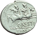 reverse:  C. Antestius. Denario, 146 a.C.
