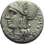 obverse:  M. Baebius Q. f. Tampilus. Denario, 137 a.C.