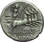 reverse:  L. Antestius Gragulus. Denario, 136 a.C.