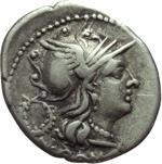 obverse:  C. Servilius M.f. Denario, 136 a.C.