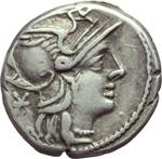 obverse:  Ti Minucius C. f. Augurinus. Denario, 134 a.C.
