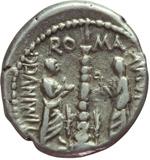 reverse:  Ti. Minucius C. f. Augurinus. Denario, 134 a.C.
