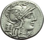 obverse:  M. Marcius Mn. f. Denario, 134 a.C.