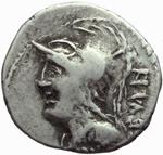 obverse:  P. Servilius M.f. Rullus, c.a. 100 a.C. Limes danubiano.  Imitazione di denario.