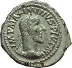 obverse:  Massimino I (235-238). Limes danubiano. Imitazione di denario.