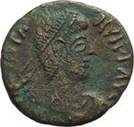 obverse:  Graziano (367-383). Limes danubiano. Imitazione di follis.