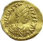 obverse:  Anastasio I (491-518). Tremisse, Costantinopoli.