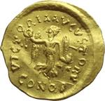 reverse:  Anastasio I (491-518). Tremisse, Costantinopoli.