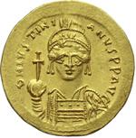 obverse:  Giustiniano I (527-565). Solido, Costantinopoli.