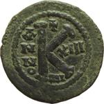 reverse:  Giustiniano I (527-565). Mezzo follis, Nicomedia.