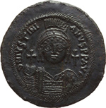 obverse:  Giustiniano I (527-565). Follis, Cyzico.