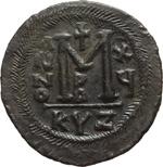reverse:  Giustiniano I (527-565). Follis, Cyzico.