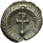 reverse:  Giustino II (565-578). Quarto di siliqua, Ravenna.