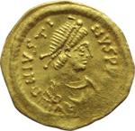obverse:  Giustino II (565-578). Tremisse, Costantinopoli.