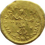 reverse:  Giustino II (565-578). Tremisse, Costantinopoli.