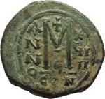 reverse:  Maurizio Tiberio (582-602). Follis, Costantinopoli.