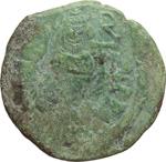 obverse:  Eraclio (610-641). Follis di Anastasio per la zecca di Costantinopoli, contromarcato da Eraclio, Siracusa.