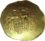 reverse:  Giovanni II (1118-1143). AU hyperpyron, Costantinopoli.