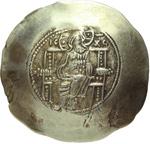 obverse:  Manuele I Comnenus (1143-1180). EL-aspron trachy, Costantinopoli.