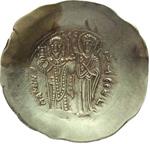reverse:  Manuele I Comnenus (1143-1180). EL-aspron trachy, Costantinopoli.
