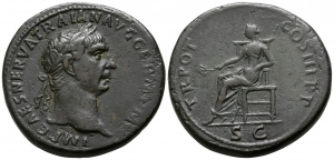 obverse image: TRAIANO (98-117), Roma. AE Sestertius (34 mm. - 28,53 gr.). D.\: IMP CAES NERVA TRAIAN AVG GERM P. R.\: TR POT COS II P P - Pax seated left with branch and sceptre, SC in exergue. RIC 413. qSPL.