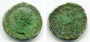 obverse image: TRAIANO (98-117), Roma. AE Sestertius (21,76 gr. – 33,4 mm.). D.\: IMP CAES NER TRAIANO OPTIMO AVG GER DAC P M TR P COS VI P P, laureate, draped and cuirassed bust right. R.\: SENATVS POPVLVSQUE ROMANVS / FORT RED / SC, Fortuns seated right, holding ruder and cornucopia. RIC 652. BB.