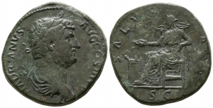 obverse image: ADRIANO (117-138), Roma. AE Sestertius (30 mm. - 26,13 gr.). D.\: HADRIANVS AVG COS III P P - laureate and draped bust right. R.\: SALVS AVG - Salus seated left, feeding out of patera snake coiled round altar and resting left arm on chair, in exergue S C. RIC 788 var. (bust); C. 1346 var. (same). qBB. NC.