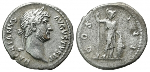 obverse image: ADRIANO (117-138), Roma. AR Denarius (2,94 gr. – 17 mm.). D.\: HADRIANVS AVGVSTVS PP, laureate head right; R.\:  COS III, Minerva standing right, holding spear and resting hand on shield. RIC 330c; BB-qBB.