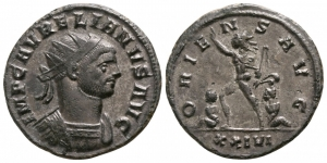 obverse image: AURELIANO (270-275), Siscia. AE/MI Antoninianus (3,60 gr. – 20 mm.). D.\: IMP C AVRELIANVS AVG, radiate and cuirassed bust right. R.\: ORIENS AVG, Sol walking left, holding whip and with outstretched hand, between two bound captives, XXIVI in exergue. RIC 255. qSPL.