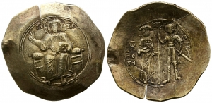 D/ GIOVANNI II Comnenus (1118-1143), Costantinopoli. Aspron Trachy EL (29 mm. - 4,31 gr.). D.\: IC-XC - to left and right of Christ seated facing on backless throne, right hand raised. R.\: IW ΔEC-ΠO-TH Ο ΓΕ-WΡ - into right and left of John, crowned and wearing divitision and chlamys, on left and St. George, nimbate, in military dress and holding sword, on right, both standing facing, holding patriarchal cross on three steps between them. Sear 1942; DO 263, 8d. qBB. NC.