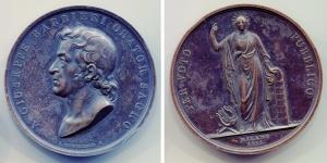 obverse image: Milano 1833. GIUSEPPE BARBIERI (1777-1838). Architetto. Per Voto Pubblico, Milano 1833. Cu (55 mm- - 79 gr.). Lievi colpetti ma megaglia splendida. NC.