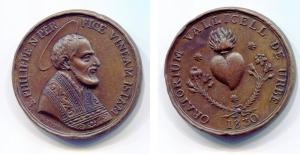 obverse image: Italia. 1830. Cu (37 mm.). D.\: S. PHILIPPE N. PER / FICE VINEAM ISTAM. R.\: OTATORIUM VALLICELL. DE URBE. Fima L. Poda. Discreta. Colpetti.