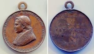 D/ Vaticano 1846. PIO IX . Cu (61,32 gr. - 47 mm.). Conservazione discreta. Non Comune.