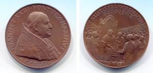 obverse image: Vaticano. Giovanni XXIII, anno 1963. CU (45 mm.). SALVTI FERAM ORBI PACEM PROPOSVIT. Perfetta!