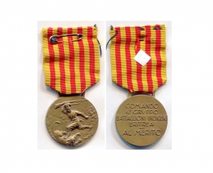 obverse image: WWII. MedagliaCampagne d Africa- Comando 4° Gruppo Battaglioni Indigeni Eritrea. - Al Merito - Rara ed affascinante! Ottima la conservazione, con nastrino originale.