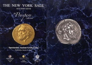 D/ The New York Sale. Auction 27 New York, 4/1/2012: The Prospero Collection, Spectacular Ancient Greek Coins. Brossura ed, lotti 642 tutti illustrati. Una collezione impressionante