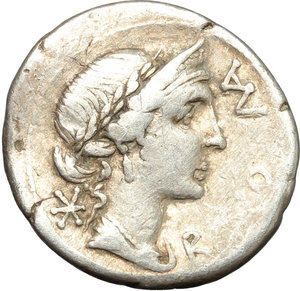 obverse: Man. Aemilius Lepidus.  AR Brockage Denarius, 114-113 BC. Obv. Laureate, diademed and draped bust of Roma right; before, ROMA; behind, X. Rev. Incuse of obverse. Cf. Cr. 291/1. Cf. B.7. AR. g. 3.77  mm. 19.50   Slight bend to flan. Nice golden toning. VF.