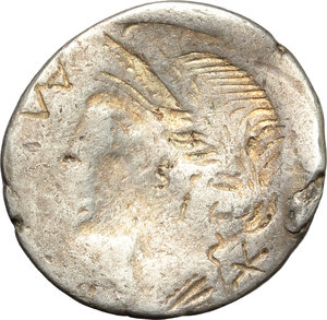 reverse: Man. Aemilius Lepidus.  AR Brockage Denarius, 114-113 BC. Obv. Laureate, diademed and draped bust of Roma right; before, ROMA; behind, X. Rev. Incuse of obverse. Cf. Cr. 291/1. Cf. B.7. AR. g. 3.77  mm. 19.50   Slight bend to flan. Nice golden toning. VF.