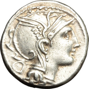 obverse: Appius Claudius Pulcher, T. Manlius Mancinus and Q. Urbinius.  AR Denarius, 111-110 BC. Obv. Helmeted head of Roma right; behind, quadrangular device. Rev. Victory in triga right; in exergue, AP. CL. T. MANL. Q. VR. Cr. 299/1 a. B.2. AR. g. 3.90  mm. 17.00   Great metal. A superb example, perfectly centred, brilliant and lightly toned. EF.