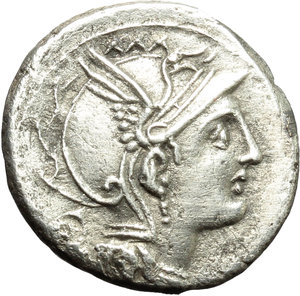 obverse: Appius Claudius Pulcher, T. Manlius Mancinus and Q. Urbinius.  AR Denarius, 111-110 BC. Obv. Helmeted head of Roma right; behind, quadrangular device. Rev. Victory in triga right; in exergue, AP. CL. T. MANL. Q. VR. Cr. 299/1 a. B.2. AR. g. 3.92  mm. 17.50   Good metal and full weight. A pleasant example, lightly toned. Good VF/About EF.
