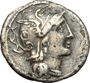 obverse: C. Claudius Pulcher.  AR Brockage Denarius, 110-109 BC. Obv. Helmeted head of Roma right. Rev. Incuse of obverse. Cf. Cr. 300/1. Cf. B.1. AR. g. 3.45  mm. 18.50    VF.