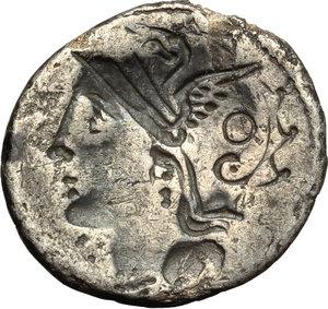 reverse: C. Claudius Pulcher.  AR Brockage Denarius, 110-109 BC. Obv. Helmeted head of Roma right. Rev. Incuse of obverse. Cf. Cr. 300/1. Cf. B.1. AR. g. 3.45  mm. 18.50    VF.