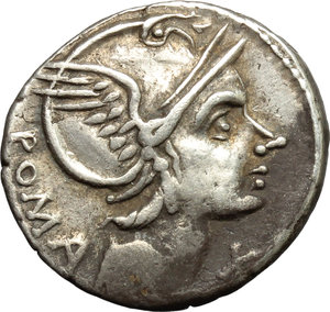 obverse: L. Flaminius Chilo.  AR Denarius, circa 109-108 BC. Obv. Helmeted head of Roma right; behind, ROMA and below chin, X. Rev. Victory in prancing biga right; below horses, L·FLAMINI and in exergue, CILO. Cr. 302/1. AR. g. 3.86  mm. 18.50   Good metal. Well centred, toned. VF.