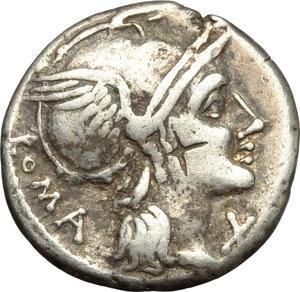 obverse: L. Flaminius Chilo.  AR Denarius, 109-108 BC. Obv. Helmeted head of Roma right; below chin, X; behind, ROMA. Rev. Victory in biga right; below horses, L. FLAMINI; in exergue, CILO. Cr. 302/1. B.1. AR. g. 3.87  mm. 18.00   Good metal. Lightly toned. VF.